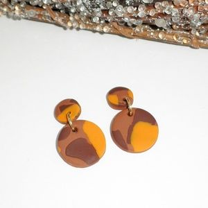 Spice Tortoise Shell handmade MODERN clay EARRINGS